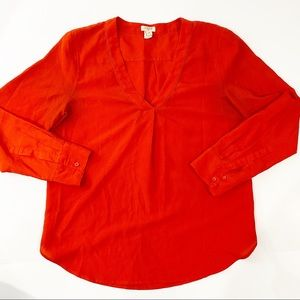 J. Crew Red V Neck Blouse Long sleeve Size Small P